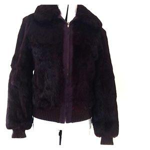 Reversible real rabbit jacket